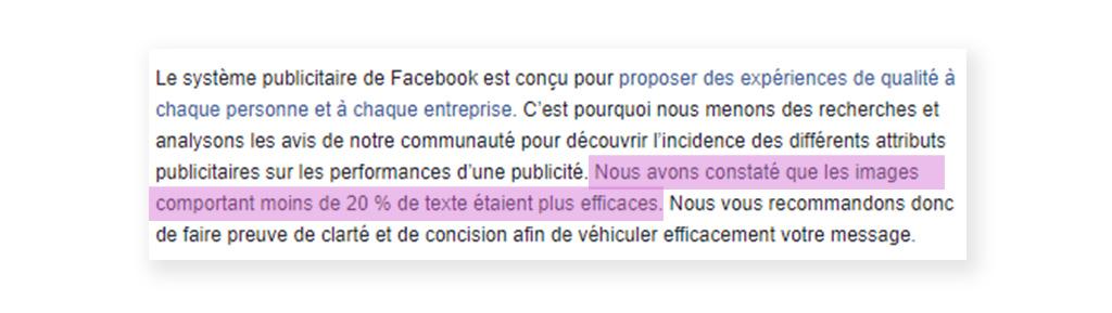 Recommandation Facebook sur le texte dans les publicités.