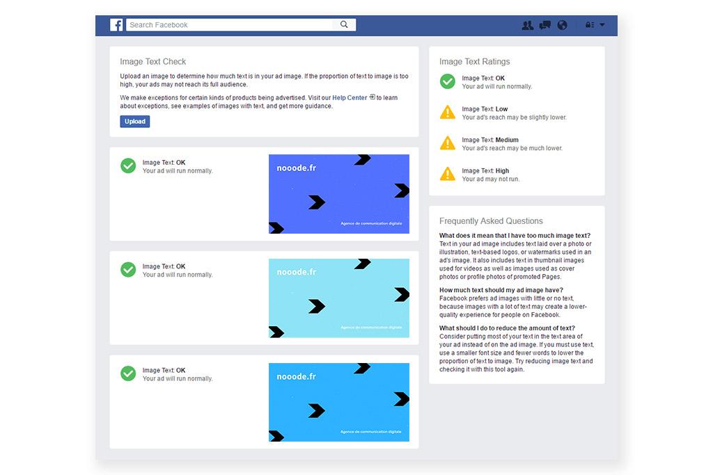 Exemple de l'outil de calcul Facebook